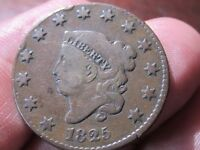 1825 CORONET HEAD LARGE CENT,   GOOD COND - COLLECTIBLE COIN