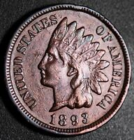 1893 INDIAN HEAD CENT -WITH LIBERTY & DIAMONDS - EXTRA FINE  EF