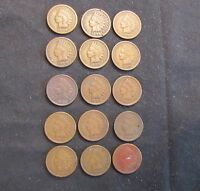 LOT OF 15 INDIAN HEAD CENTS - 1896, 1899, 1900, 2X 1902, 1903, 2X 1905, 4X 1906