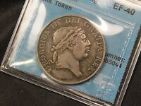 1812 GREAT BRITAIN 3 SHILLING SILVER BANK TOKEN. EF 40 CCCS CERTIFIED. NICE TONE