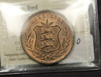 1889H GUERNSEY 8 DOUBLES MS 63 RED UNCIRCULATED ICCS CERTIFIED