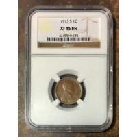 1913 S LINCOLN CENT NGC EXTRA FINE 45 BN REV TYE'S 013555