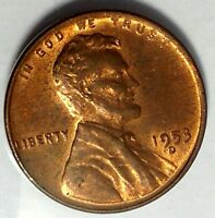 1953-D  1C LINCOLN WHEAT CENT, 17RR1412 RED UNC