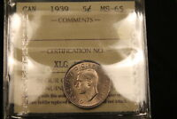 1939 CANADA 5 CENTS NICKEL. MS 65 ICCS LUSTROUS GEM UNCIRCULATED. BV $600