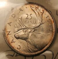 1943 CANADA SILVER 25 CENTS. ICCS MS 65 GEM UNCIRCULATED TRENDS $400. TONED WK