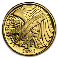 1987 W GOLD $5 COMMEM CONSTITUTION PROOF  CAPSULE ONLY    SKU 7069