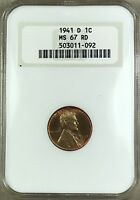 1941-D LINCOLN WHEAT CENT NGC MINT STATE 67 RD MINT SET OLD HOLDER