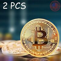 2 X BITCOIN COMMEMORATIVE COIN PLATED COLLECTED COIN ROUND GOLD GIFT US SHIPPING