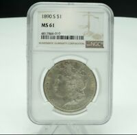 1890 S MORGAN ONE DOLLAR $1 NGC GRADED MINT STATE 61  COIN
