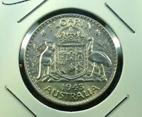 1943 AUSTRALIA UNCIRCULATED STERLING SILVER FLORIN   UNC