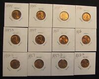 LOT OF 12 HIGH GRADE LINCOLN WHEAT CENTS - 1944, 1945, 1945-D, 1946, 1947-D