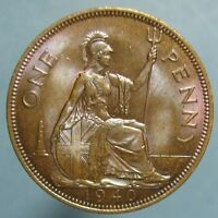 GEM TONED 1940 GEORGE VI PENNY   INTENSE LUSTER & COLORS