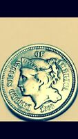 1868 3CN THREE CENT NICKEL PIECE.EARLY AMERICAN BETTER GRADE U S 3 CENT COIN