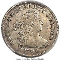 1798 DRAPED BUST 10C, SMALL 8, JR-3, HIGH R.-5,  PCGS VF DETAILS, LOW MINTAGE