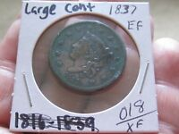 1837 CORONET HEAD LARGE CENT,   EXTRA FINE COND - COLLECTIBLE COIN
