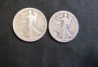 LOT OF 2 1917-S WALKING LIBERTY SILVER HALF DOLLARS WITH REVERSE MINTMARKS