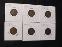 LOT OF 6 1927-1934 LINCOLN WHEAT CENTS - 3X 1927-D, 1927-S, 1930-D, 1934
