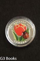 2011 ROYAL CANADIAN MINT $20 FINE SILVER COIN   TULIP WITH LADYBUG MURANO GLASS