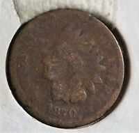 1870 INDIAN HEAD CENT HEAVILY CIRCULATED SEMI-KEY TOUGH SEVENTIES DATE