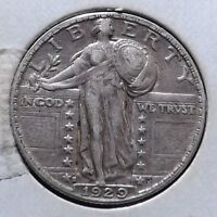 1929-S 25C STANDING LIBERTY QUARTER EXTRA FINE   LOW MINTAGE ALMOST FH