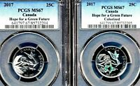 2 COIN BUNDLE PCGS CERTIFIED MS67 CANADA 2017 25C HOPE FOR A GREEN FUTURE