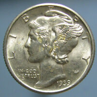 1939 D MERCURY DIME   CHOICE BU WITH FULL SPLIT BANDS