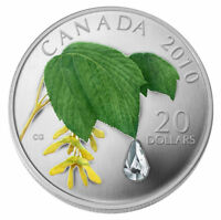 2010 $20 1 OZ CANADA SILVER MAPLE LEAF CRYSTAL RAINDROP COLORED. CASE COA NO TAX