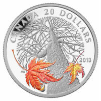 2013 $20 1 OZ SILVER CANADIAN MAPLE CANOPY AUMTUMN. COLORIZED. BOX & COA. NO TAX