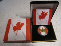 2014 PATRIOTIC GOLD   COLORIZED FLAG CANADA 1 OZ SILVER MAPLE LEAF. COA & BOX.
