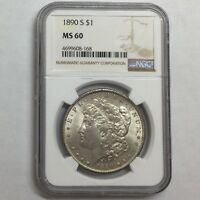 1890 S $1 MORGAN SILVER DOLLAR NGC MINT STATE 60