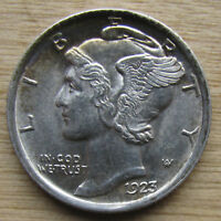 1923 MERCURY DIME   CLOSE TO GEM BU WITH FULL SPLIT BANDS