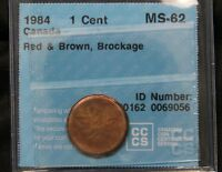 1984 CANADA ERROR FULL BROCKAGE  OBVERSE  SMALL CENT CCCS MS 62 CERTIFIED.
