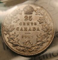 1907 CANADA SILVER 25 CENTS. MS 64 ICCS NEAR GEM UNCIRCULATED. BV $3 000
