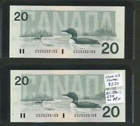 1991 $20 2X CONSECUTIVE BANK OF CANADA BC 58B II ESZ NO BPN.  TYPE BV $230