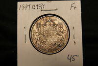 1947 CANADA SILVER 50 CENTS CURVE RIGHT 7. R TYPE COIN.