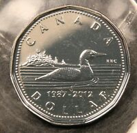 1987 2012 CANADA $1 LOONIE 25TH ANNIVERSARY SILVER PLATED COIN. DOUBLE DATE.