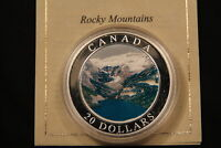 2003 CANADA 1 OZ $20 FINE SILVER   ROCKY MOUNTAINS   COLORIZED MAPLE W COA