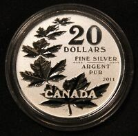 2011 $20 CANADA SILVER MAPLE LEAVES. FIRST IN THE SERIES  REVERSE PROOF COIN.