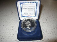 2013 SLAVE QUEEN 1 OZ .999 PURE SILVER SBSS PROOF COIN IN CASE WITH COA.