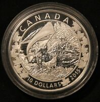 2015 $10 CANADA .9999 PURE SILVER 1/2 OZ PROOF COIN. CANOE   WONDROUS WEST