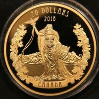 2018 CANADA $20 A MODERN ALLEGORY: BOREALIA 1 OZ PURE SILVER GOLD PLATED COIN