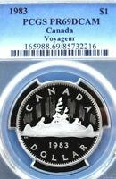 PCGS CERTIFIED PR69DCAM CANADA 1983 PROOF DOLLAR VOYAGEUR COIN