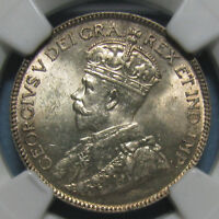1918 CANADIAN 25 CENTS   GRADED MS 63 BY NGC