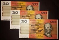 1991 AUSTRALIA FRASER/COLE 3 X CONSECUTIVE AUNCIRCULATED $20