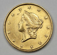 1849 ONE DOLLAR GOLD LIBERTY COIN $1 GOLD SLABBED AU58 BY AN