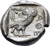 ANCIENT GREEK COIN SILVER TETRADRACHM ATTICA ATHENS OWL CIRC