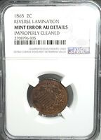 1865 2C   MINT ERROR  NGC ALMOST UNC DETAILS CLEANED