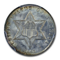 1862 3CS THREE CENT SILVER PCGS MINT STATE 66 CAC