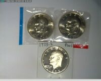 1973 $1 P D S EISENHOWER DOLLARS OR IKE DOLLARS UNC IN MINT CELLO AND PROOF