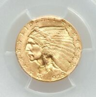 1929 PCGS MINT STATE 64 PLUS $2.50 QUARTER EAGLE GOLD INDIAN HEAD UNCIRCULATED TYPE COIN